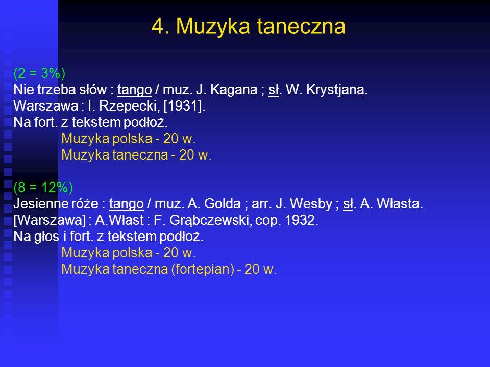 4. Muzyka taneczna (2 = 3%) Nie trzeba słów : tango / muz. J. Kagana ; sł. W. Krystjana. Warszawa : I. Rzepecki, [1931].